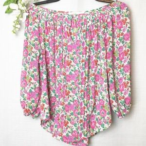 A&F• bright Sheer floral blouse